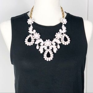 J. Crew White Floral Filigree Tear Drop Necklace